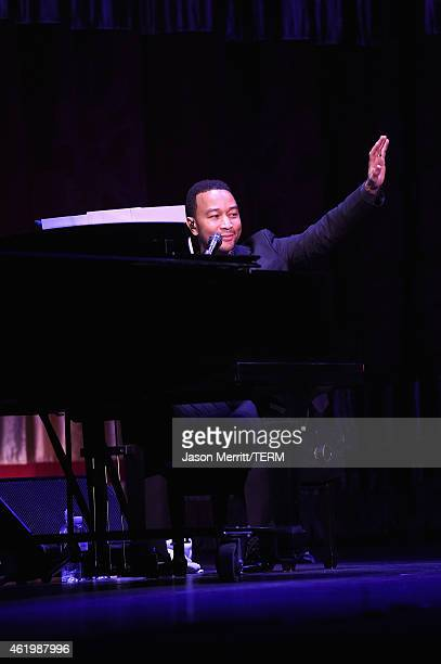Musician John Legend performs on stage at Netflix's 'What Happened Miss Simone' Sundance world premiere with special performance by John Legend on...