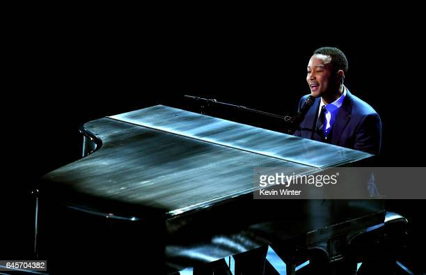 Musician John Legend performs onstage during the 89th Annual Academy Awards at Hollywood Highland Center on February 26 2017 in Hollywood California