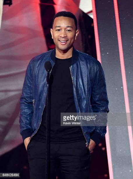 Musician John Legend speaks onstage at the 2017 iHeartRadio Music Awards which broadcast live on Turner's TBS TNT and truTV at The Forum on March 5...