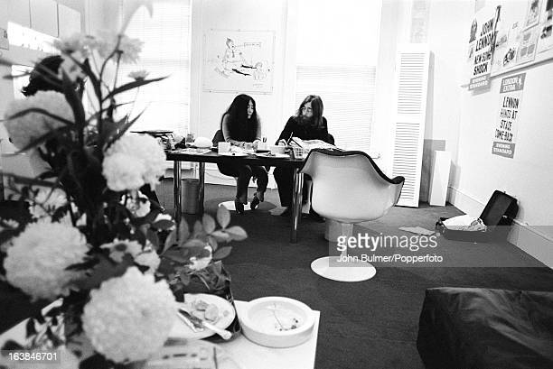 Musician John Lennon and his wife artist Yoko Ono at the Apple offices in London 1969