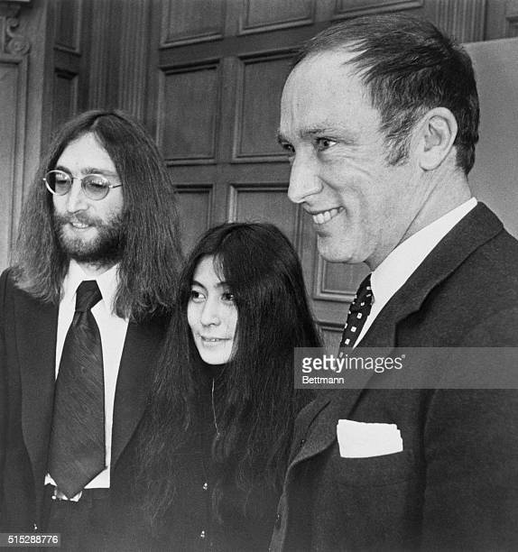 Musician John Lennon and his wife Yoko Ono meet with Canadian Prime Minister Pierre Elliott Trudeau on Parliament Hill while promoting their peace...