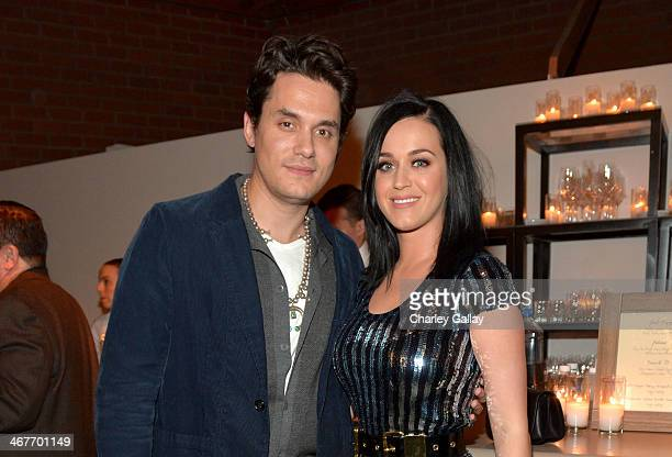 Musician John Mayer and singer Katy Perry attend Hollywood Stands Up To Cancer Event with contributors American Cancer Society and Bristol Myers...