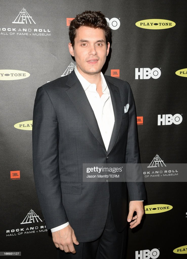 Musician <a gi-track='captionPersonalityLinkClicked' href=/galleries/search?phrase=John+Mayer&family=editorial&specificpeople=201930 ng-click='$event.stopPropagation()'>John Mayer</a> arrives at the 28th Annual Rock and Roll Hall of Fame Induction Ceremony at Nokia Theatre L.A. Live on April 18, 2013 in Los Angeles, California.