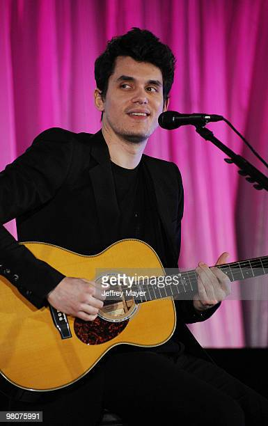 Musician John Mayer performs at the Ferrari 458 Italia Brings Funds for Haiti Relief event at Fleur de Lys on March 18 2010 in Los Angeles California