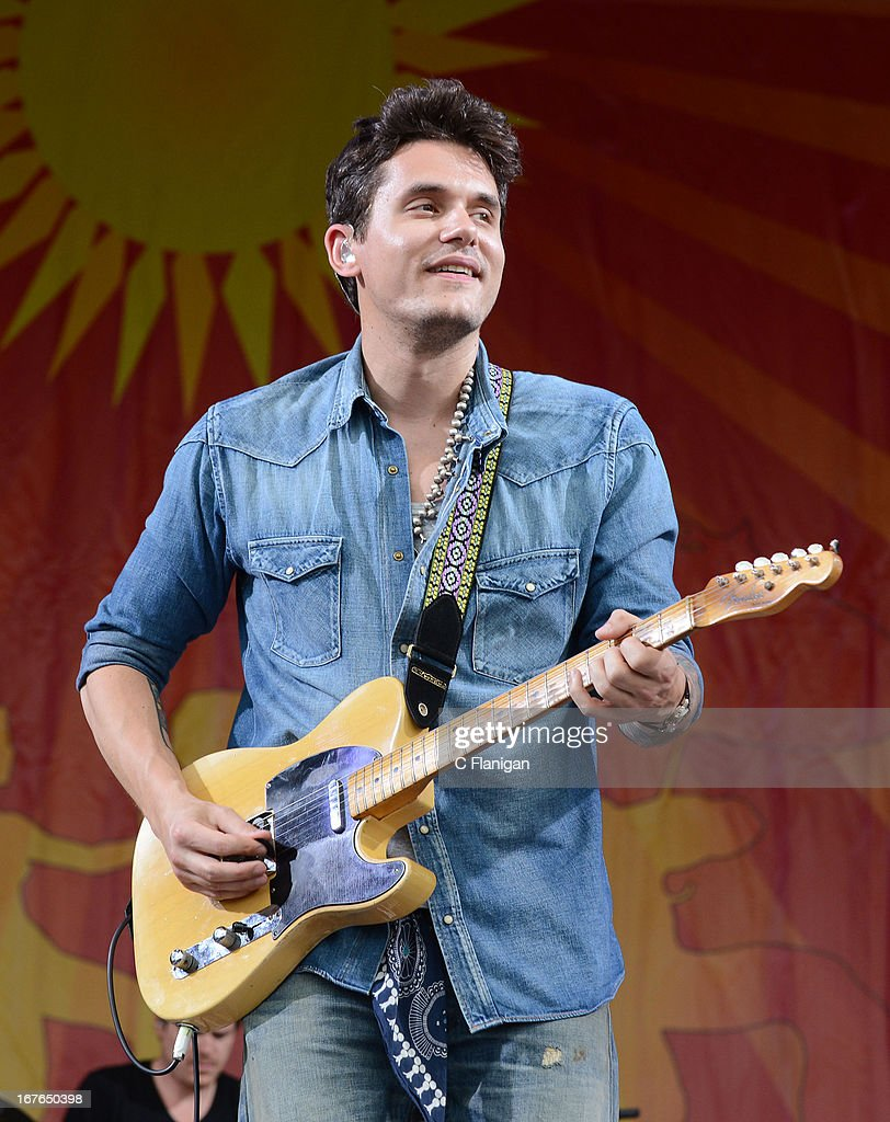 Musician <a gi-track='captionPersonalityLinkClicked' href=/galleries/search?phrase=John+Mayer&family=editorial&specificpeople=201930 ng-click='$event.stopPropagation()'>John Mayer</a> performs during the 2013 New Orleans Jazz and Heritage Festival at Fair Grounds Race Course on April 26, 2013 in New Orleans, Louisiana.