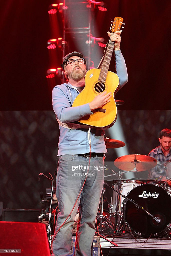 Musician John McCrea of Cake performs during the Amnesty International 'Bringing Human Rights Home' Concert at the Barclays Center on February 5, 2014 in the Brooklyn borough of New York City.