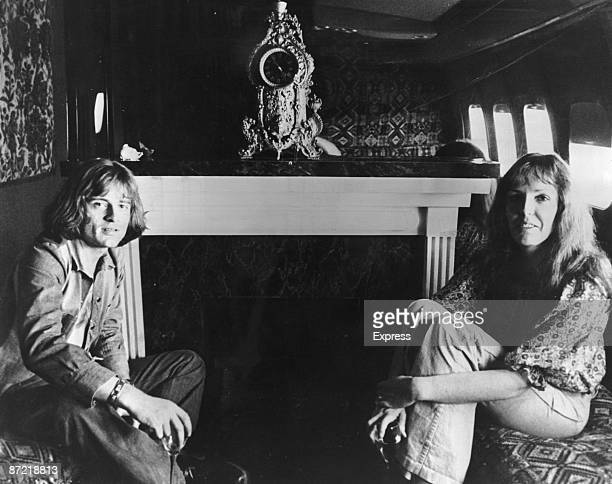 Musician John Paul Jones of English rock band Led Zeppelin aboard 'The Starship' a private Boeing 720B passenger jet during their North America tour...