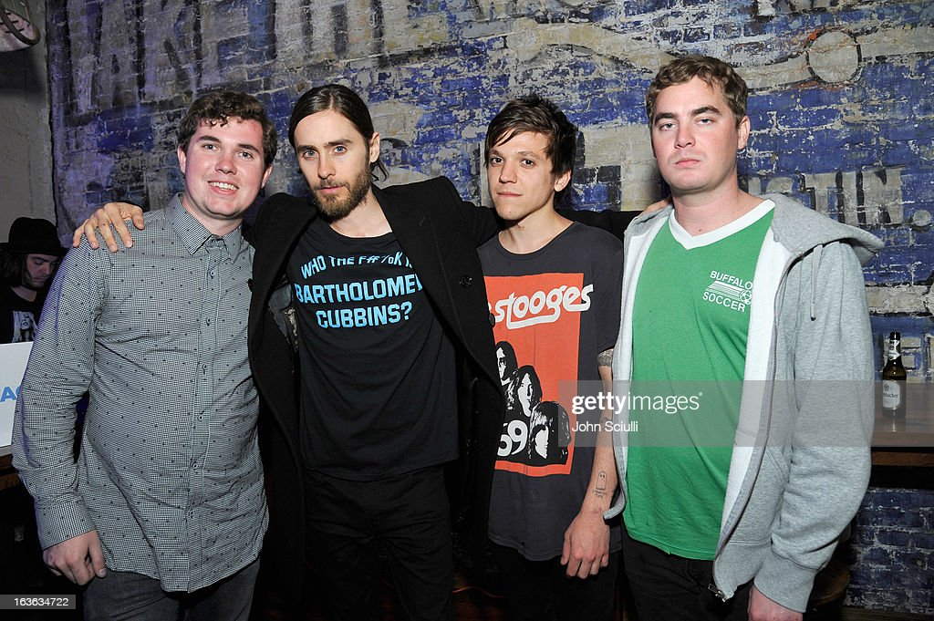 Musician John Paul PItts, director Jared Leto and musicians Thomas Fekete and Kevin Williams of the band Surfer Blood attend the Samsung Galaxy 'Artifact' after party at SXSW on March 13, 2013 in Austin, Texas.