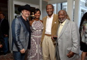 Musician John Rich host Nicole Avant Sarandos actor Sidney Poitier and music executive Clarence Avant attend the 87th birthday celebration of Tony...
