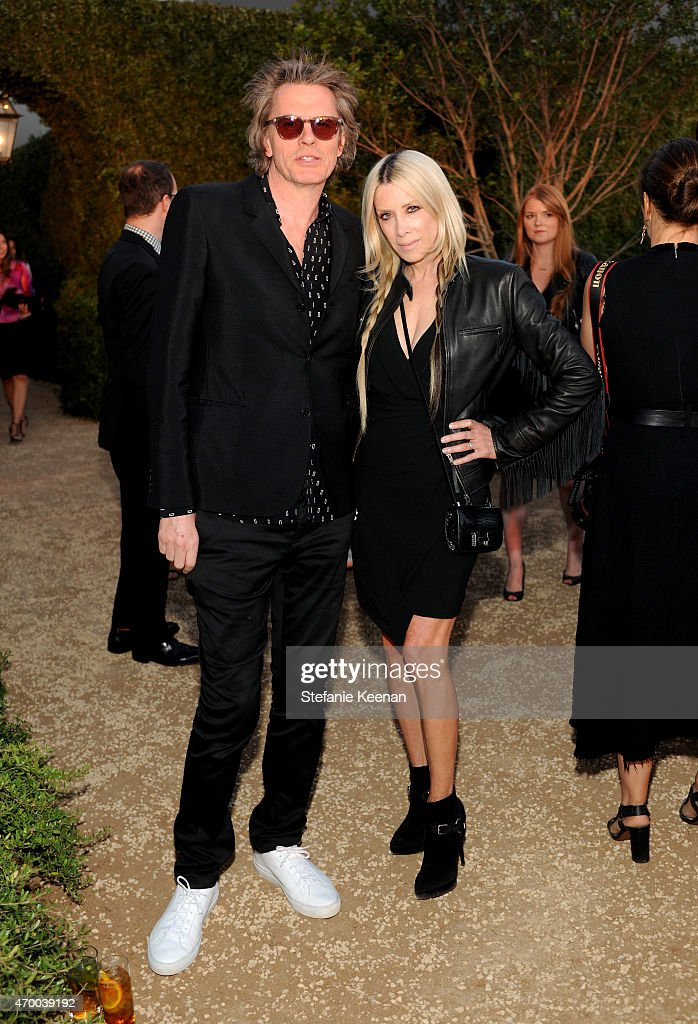 Musician John Taylor (L) and Gela Nash attend the Burberry 'London in Los Angeles' event at Griffith Observatory on April 16, 2015 in Los Angeles, California.