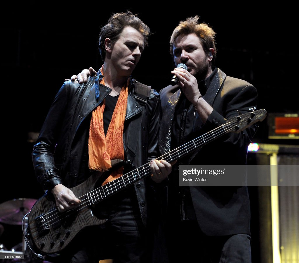 Musician John Taylor (L) and singer Simon Le Bon of Duran Duran perform during Day 3 of the Coachella Valley Music & Arts Festival 2011 held at the Empire Polo Club on April 17, 2011 in Indio, California.