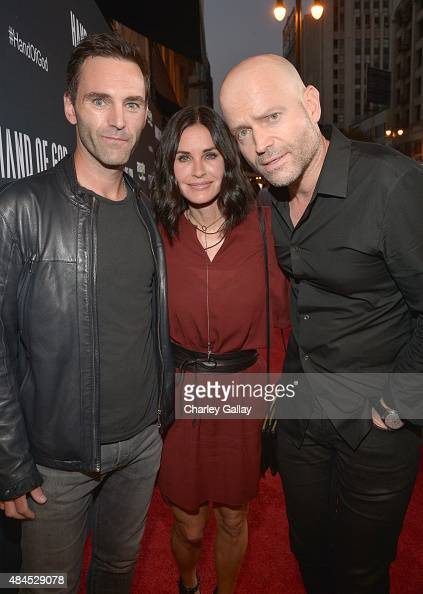 Musician Johnny McDaid actress Courteney Cox and director/producer Marc Forster attend the Amazon premiere screening for original drama series 'Hand...