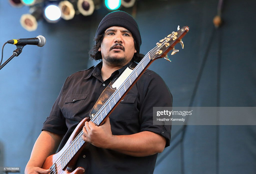 Musician Jojo Garza of Los Lonely Boys performs onstage at the USPS Hendrix Stamp Event + Los Lonely Boys during the 2014 SXSW Music, Film + Interactive at Butler Park on March 13, 2014 in Austin, Texas.