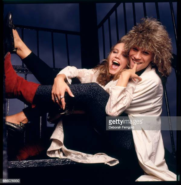 Musician Jon Bon Jovi and actress Diane Lane pose for a portrait in 1985 in New York City New York