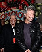 Musician Jon Bon Jovi and father John Francis Bongiovi Sr pose at the Bongiovi Brand chef station at Ronzoni's La Sagra Slices hosted by Bongiovi...