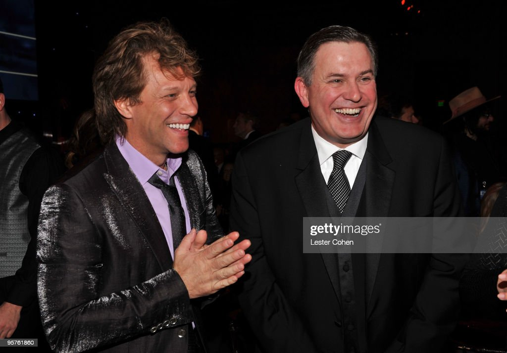 Musician <a gi-track='captionPersonalityLinkClicked' href=/galleries/search?phrase=Jon+Bon+Jovi&family=editorial&specificpeople=201527 ng-click='$event.stopPropagation()'>Jon Bon Jovi</a> and Honoree AEG President and CEO <a gi-track='captionPersonalityLinkClicked' href=/galleries/search?phrase=Tim+Leiweke&family=editorial&specificpeople=676996 ng-click='$event.stopPropagation()'>Tim Leiweke</a> attends City Of Hope's 'Spirit Of Life' Award Dinner Gala held at Diamond Ballroom at L.A. Live on January 13, 2010 in Los Angeles, California.