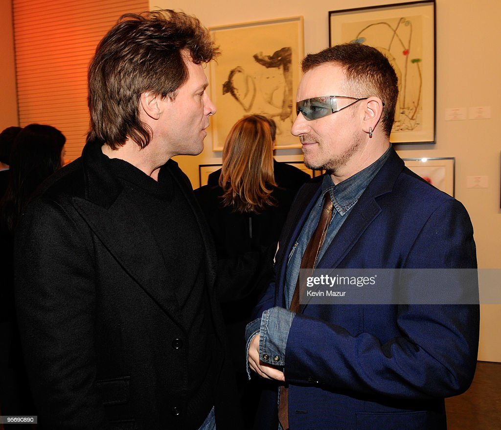 red cocktail party photos and images getty images musician jon bon jovi and musician bono attend the red auction to benefit aids