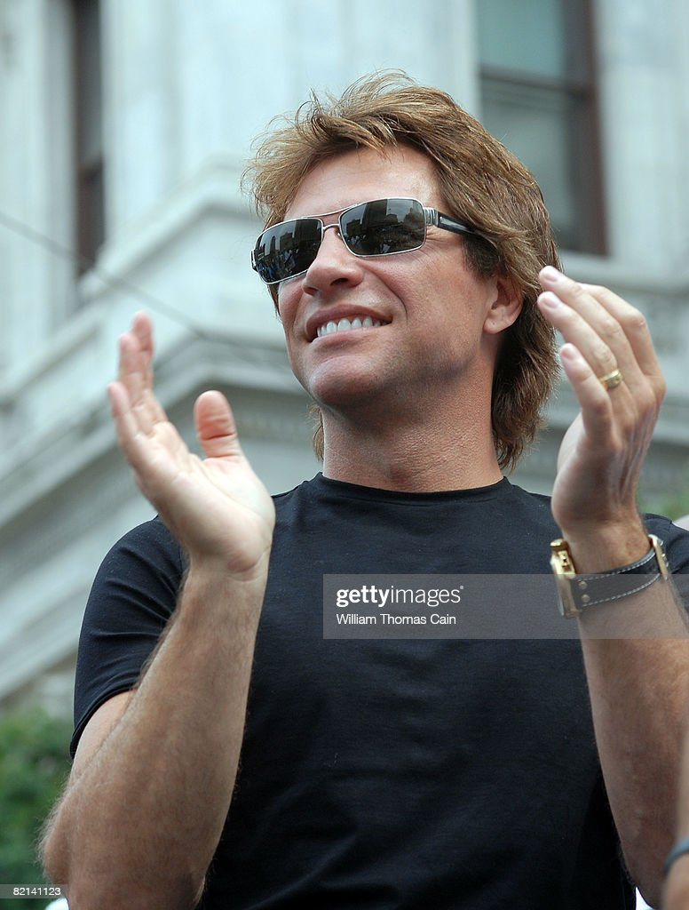 Musician Jon Bon Jovi attends a championship rally at City Hall on July 27, 2008 in Philadelphia, Pennsylvania. Bon Jovi and fellow investors celebrate the Philadelphia Soul's victory at ArenaBowl XXII in New Orleans, defeating the San Jose SaberCats for the Arena Bowl championship title.