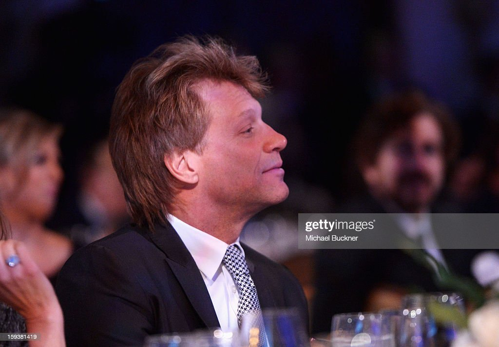 Musician Jon Bon Jovi attends the 2nd Annual Sean Penn and Friends Help Haiti Home Gala benefiting J/P HRO presented by Giorgio Armani at Montage Hotel on January 12, 2013 in Los Angeles, California.