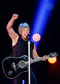 Musician Jon Bon Jovi of Bon Jovi performs onstage at Rogers Arena on August 22 2015 in Vancouver Canada