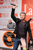 Musician Jon Bon Jovi on stage at Ronzoni's La Sagra Slices hosted by Bongiovi Brand pasta sauces Adam Richman presented by Time Out New York during...
