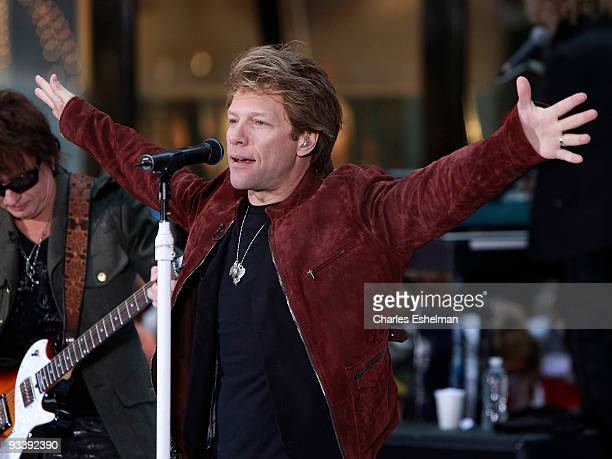 Musician Jon Bon Jovi performs on NBC's 'Today' at Rockefeller Center on November 25 2009 in New York City