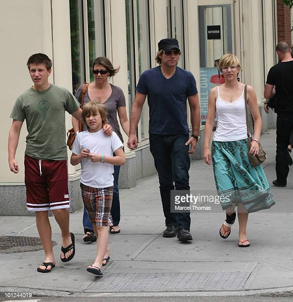 Musician Jon Bon Jovi wife Dorothea Hurley and kids Jesse Jacob and Stephanie Rose are seen leaving Dos Caminos restaurant in the SOHO on May 28 2010...