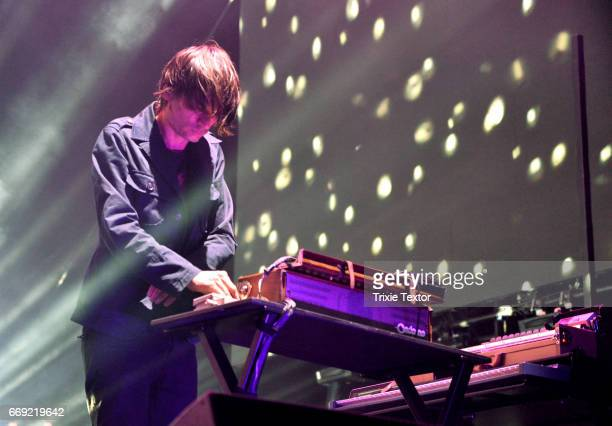 Musician Jonny Greenwood of Radiohead perform on the Coachella Stage during day 1 of the Coachella Valley Music And Arts Festival at the Empire Polo...