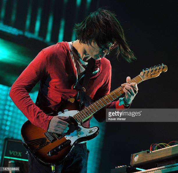 Musician Jonny Greenwood of Radiohead performs onstage during day 2 of the 2012 Coachella Valley Music Arts Festival at the Empire Polo Field on...