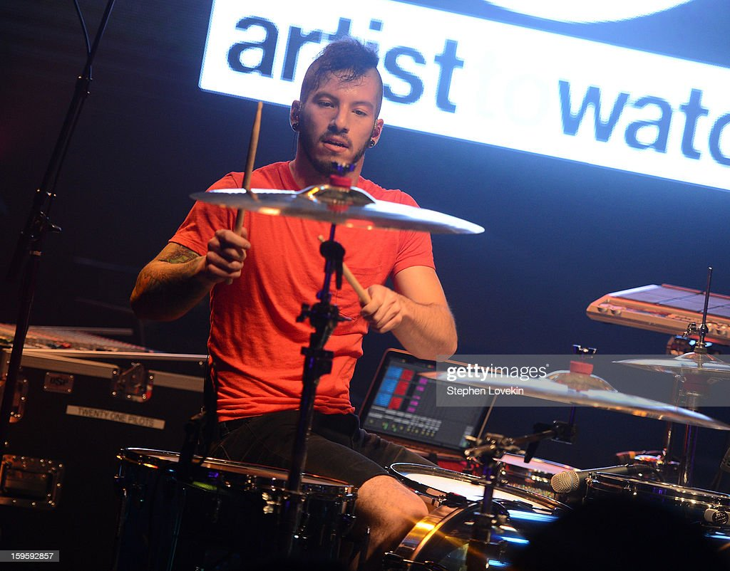 Musician Josh Dun of Twenty One Pilots performs at MTV's 2013 'Artists To Watch' Concert at Highline Ballroom on January 16, 2013 in New York City.