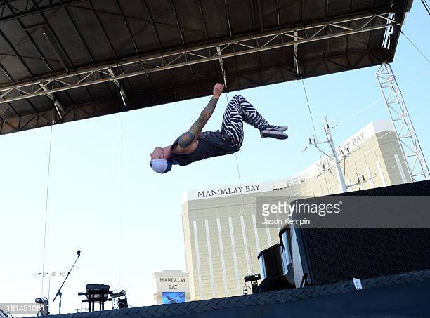 Musician Josh Dun of Twenty One Pilots performs onstage during the iHeartRadio Music Festival Village on September 21 2013 in Las Vegas Nevada