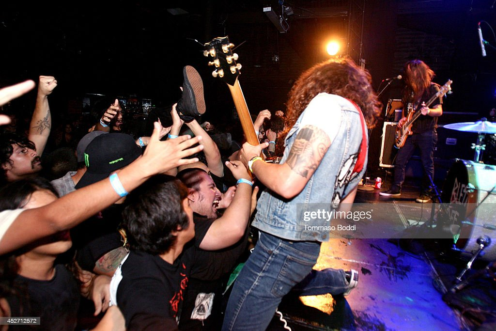 Musician Josh Landau of The Shrine performs at the Pabst Blue Ribbon and DoLA present Municipal Waste: A Nuclear Keg Party held at the Echoplex on July 25, 2014 in Los Angeles, California.
