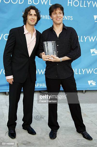 Musician Joshua Bell who was inducted into the Hollywod Bowl Hall of Fame poses with singer Josh Groban at the Hollywood Bowl for the Sixth Annual...
