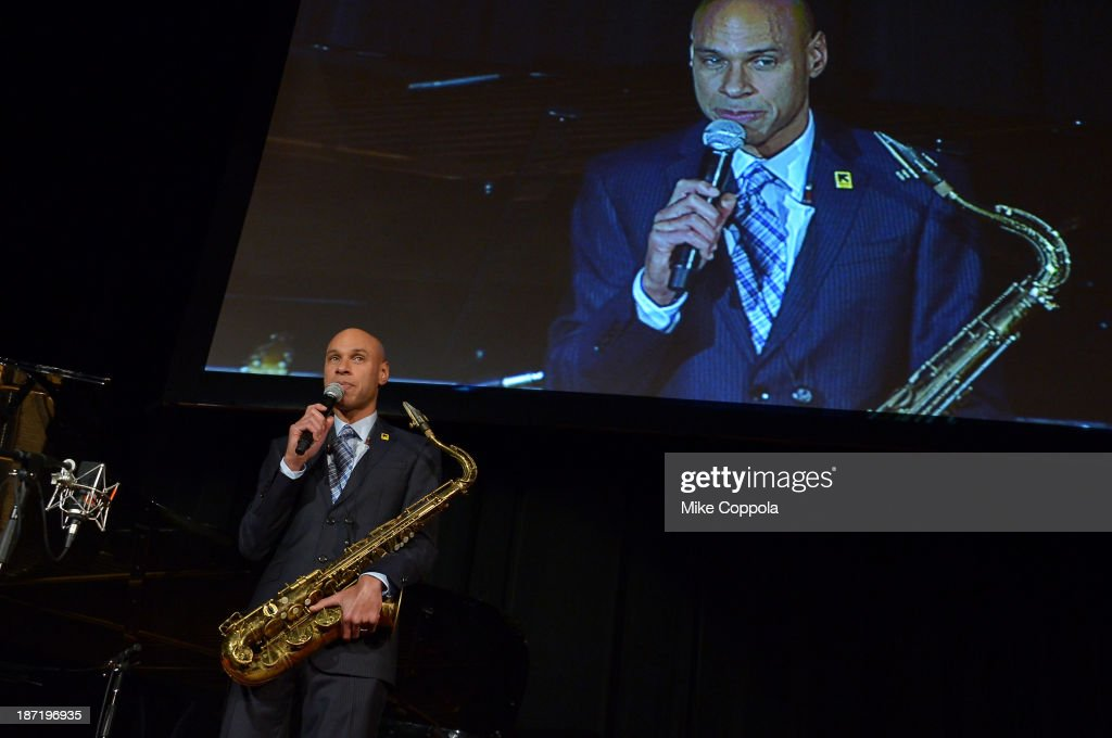 Musician <a gi-track='captionPersonalityLinkClicked' href=/galleries/search?phrase=Joshua+Redman&family=editorial&specificpeople=1153320 ng-click='$event.stopPropagation()'>Joshua Redman</a> performs onstage at the Annual Freedom Award Benefit hosted by the International Rescue Committee at the Waldorf-Astoria hotel on November 6, 2013 in New York City.