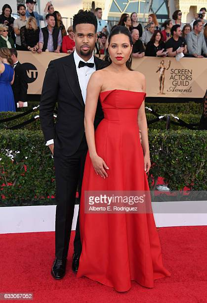 Musician Josiah Bell and actor Jurnee SmollettBell attend the 23rd Annual Screen Actors Guild Awards at The Shrine Expo Hall on January 29 2017 in...