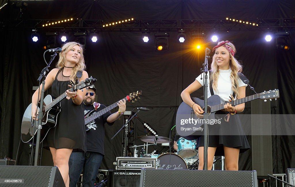 Musician Julia Tirinnanzi (L) and Jill Christine of Jill & Julia perform during the 2015 Life is Beautiful festival on September 27, 2015 in Las Vegas, Nevada.