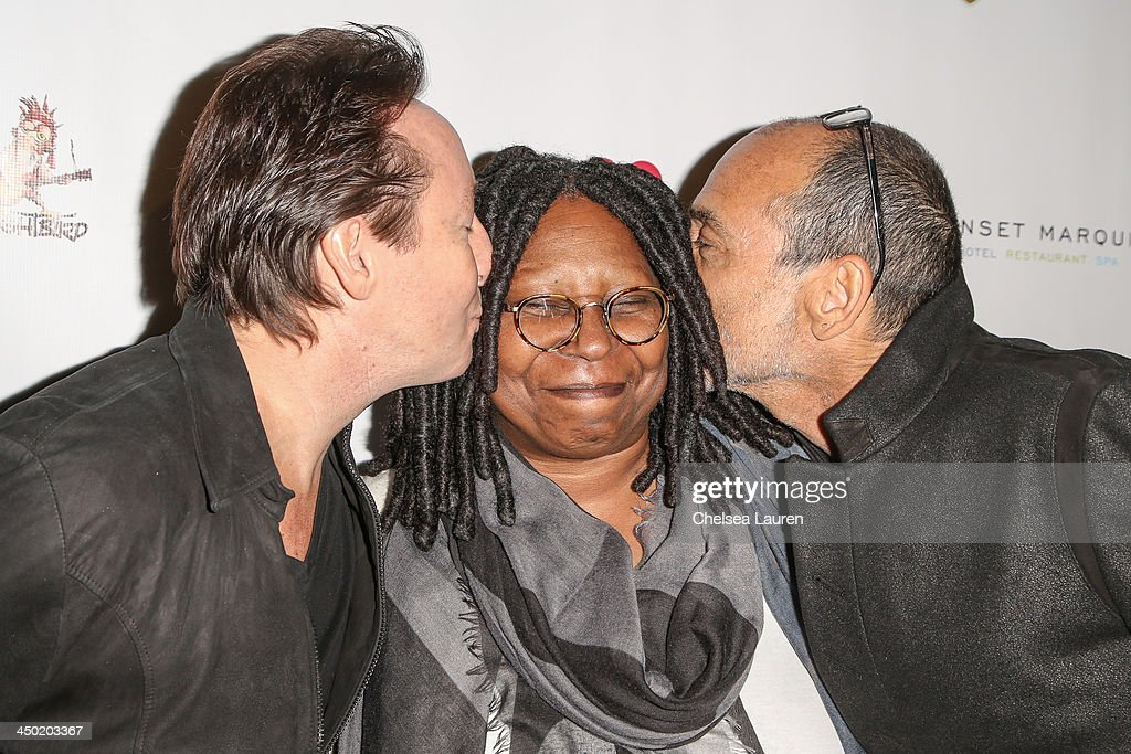 Musician Julian Lennon, actress Whoopi Goldberg and photographer Timothy White arrive at the Sunset Marquis Hotel 50th anniversary birthday bash at Sunset Marquis Hotel & Villas on November 16, 2013 in West Hollywood, California.