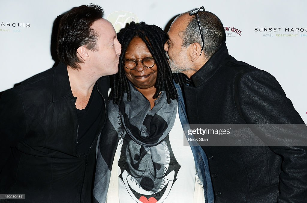 Musician <a gi-track='captionPersonalityLinkClicked' href=/galleries/search?phrase=Julian+Lennon&family=editorial&specificpeople=211480 ng-click='$event.stopPropagation()'>Julian Lennon</a>, actress <a gi-track='captionPersonalityLinkClicked' href=/galleries/search?phrase=Whoopi+Goldberg&family=editorial&specificpeople=202463 ng-click='$event.stopPropagation()'>Whoopi Goldberg</a> and photographer Timothy White arrive at Sunset Marquis Hotel 50th anniversary Birthday bash at Sunset Marquis Hotel & Villas on November 16, 2013 in West Hollywood, California.