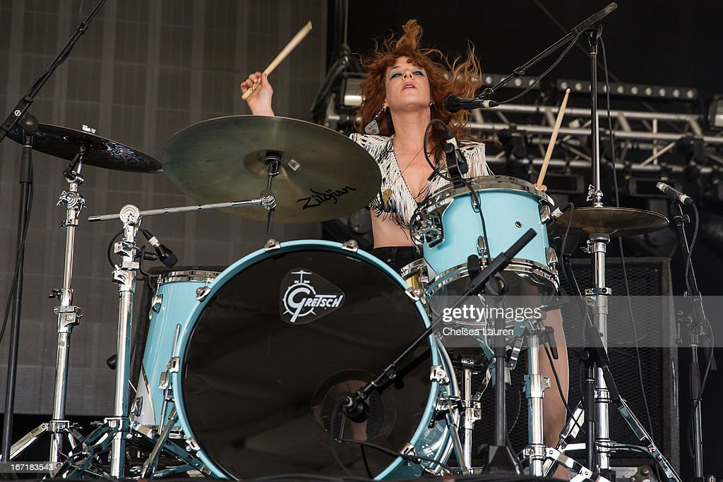 Musician Julie Edwards of Deap Vally performs during the Coachella Valley Music & Arts Festival at The Empire Polo Club on April 21, 2013 in Indio, California.