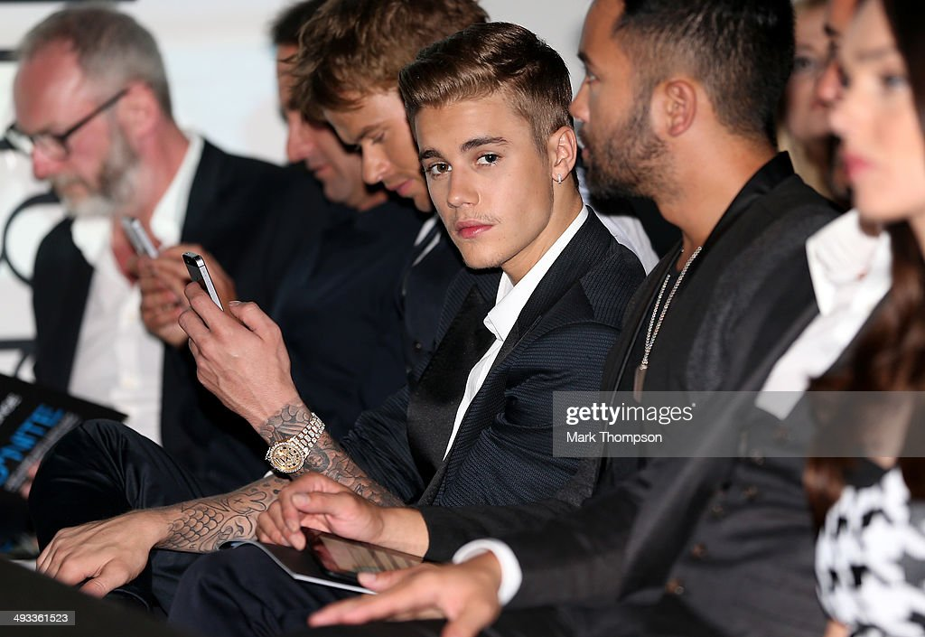 Musician <a gi-track='captionPersonalityLinkClicked' href=/galleries/search?phrase=Justin+Bieber&family=editorial&specificpeople=5780923 ng-click='$event.stopPropagation()'>Justin Bieber</a> attends the Amber Lounge Fashion Show ahead of the Monaco Formula One Grand Prix at Circuit de Monaco on May 23, 2014 in Monte-Carlo, Monaco.