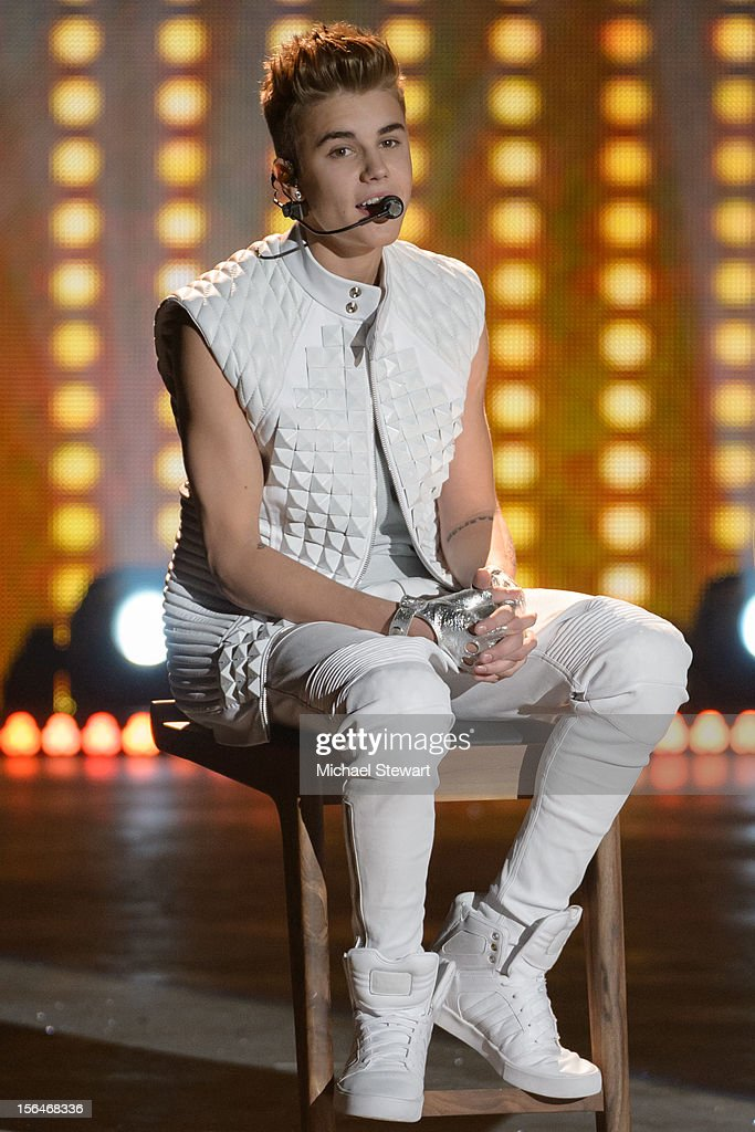 Musician <a gi-track='captionPersonalityLinkClicked' href=/galleries/search?phrase=Justin+Bieber&family=editorial&specificpeople=5780923 ng-click='$event.stopPropagation()'>Justin Bieber</a> performs during the 2012 Victoria's Secret Fashion Show at the Lexington Avenue Armory on November 7, 2012 in New York City.