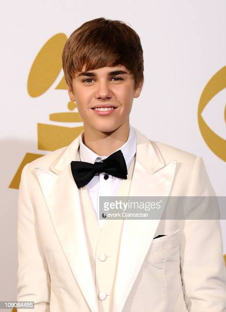 Musician Justin Bieber poses in the press room at The 53rd Annual GRAMMY Awards held at Staples Center on February 13 2011 in Los Angeles California