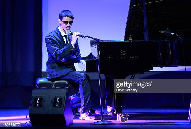 Musician Justin Kauflin performs onstage at the 'Keep on Keepin' On' Concert during the 2014 Tribeca Film Festival at BMCC Tribeca PAC on April 19...