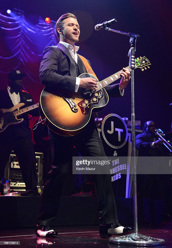Musician Justin Timberlake performs during MasterCard Priceless Premieres Presents Justin Timberlake at Roseland Ballroom on May 5, 2013 in New York City.
