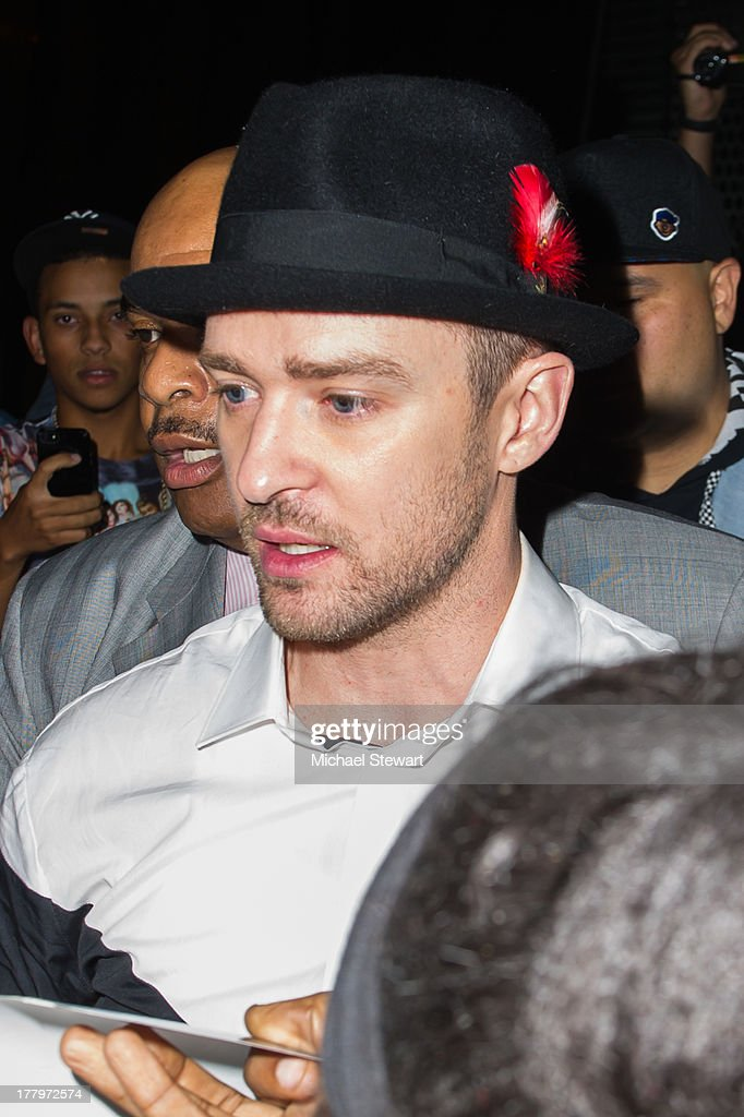 Musician Justin Timberlake seen on the streets of Manhattan on August 25, 2013 in New York City.