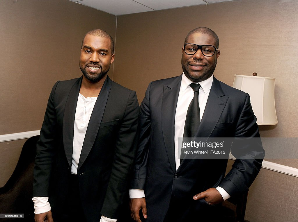 Musician Kanye West (L) and director Steve McQueen during the 17th annual Hollywood Film Awards at The Beverly Hilton Hotel on October 21, 2013 in Beverly Hills, California.
