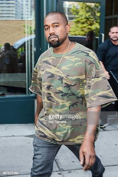 Musician Kanye West leaves his Soho apartment on September 9 2015 in New York City