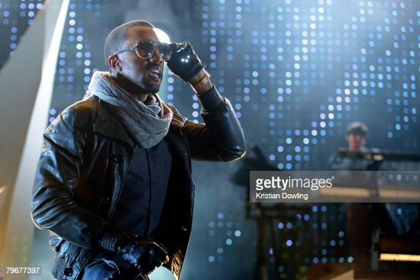 B musician Kanye West performs on stage at the Melbourne stop of the Good Vibrations Festival 2008 at the Sidney Myer Music Bowl on February 9 2008...