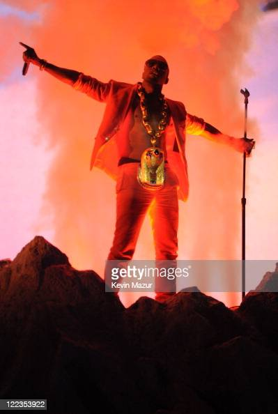 Musician Kanye West performs onstage during the 2010 BET Awards held at the Shrine Auditorium on June 27 2010 in Los Angeles California
