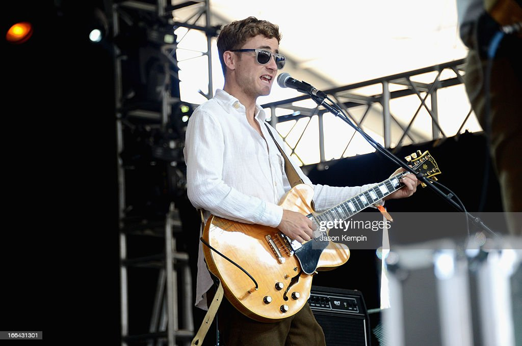 Musician Karl Kerfoot of Lord Huron performs onstage during day 1 of the 2013 Coachella Valley Music Arts Festival at the Empire Polo Club on April...